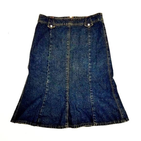 Vintage Dresses & Skirts - USA Made Skirt Denim Jean Blue Peplum Ruffle